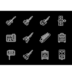 Music equipment white line icons Guitars vector image vector image