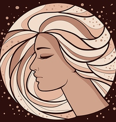 Romantic drawing silhouette of a girl vector image vector image