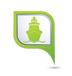 ship icon green map pointer2 vector image vector image