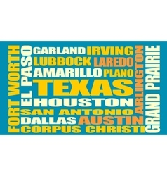 Texas state cities list vector image