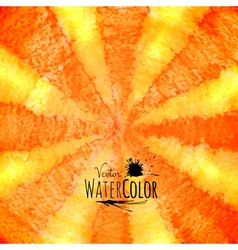 Watercolor striped radiant pattern yellow orange vector image vector image