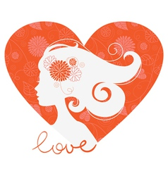 Beautiful girl heart silhouette vector image vector image