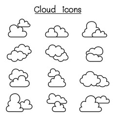 cloud icon set in thin line style vector image vector image