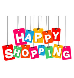 Colorful hanging cardboard tags - happy vector