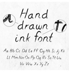Hand-drawn dirty ink grunge font with alphabet on vector image vector image