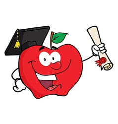 Happy Apple Holding A Diploma vector image vector image