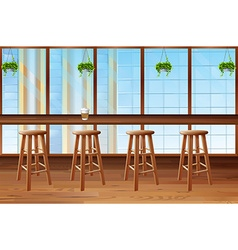 Inside of coffee shop with glass window vector image
