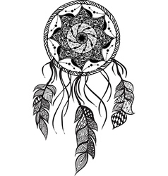 Line Art of a mandala dreamcatcher vector image