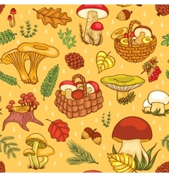 Seamless pattern with mushrooms vector image vector image