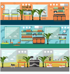 set of pet shop interior concept posters vector image