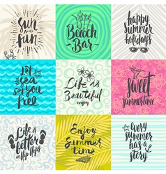 Set of summer holidays and vacation greeting cards vector image vector image
