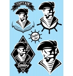set template in retro style with pirate vector image