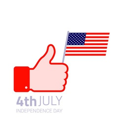 Thumb up hold american flag icon vector image vector image