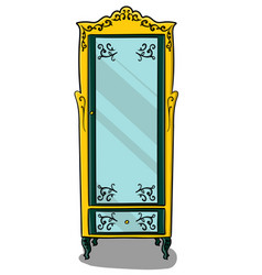 A yellow cupboard with dark turquoise details and vector
