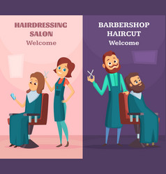 banners set with of hairdressers at vector image vector image