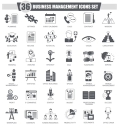 Business management black icon set Dark vector image