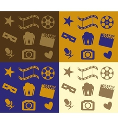 Colorful cinema patterns vector image