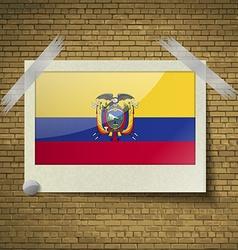 Flags Ecuador at frame on a brick background vector image vector image