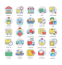 Logistics delivery icons set vector