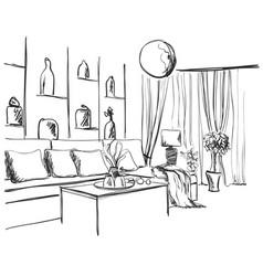 Room interior sketch window sofa and furniture vector