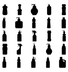 Set of silhouettes of containers and bottles house vector image vector image