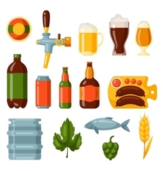 Beer icon and objects set for design vector image