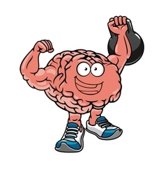 Brawny brain with muscles lifting weights vector