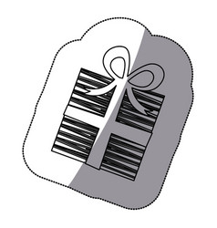 sticker shading silhouette striped gift box with vector image