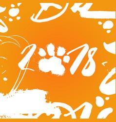 2018 dog food print over orange background happy vector image