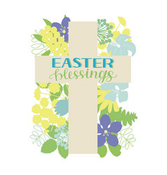 a cross with flowers and hand written inscription vector image