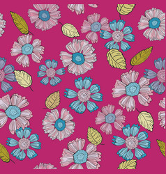 a fun floral repeat print pattern in pink and blue vector image