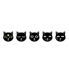 abstract cats faces vector image