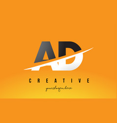 Ad a d letter modern logo design with yellow vector