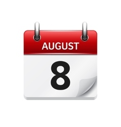 August 8 flat daily calendar icon Date vector image