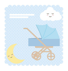bacart trolley with moon and cloud kawaii vector image