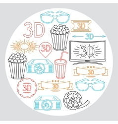 Background of movie elements and cinema icons vector image vector image