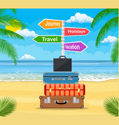 baggage luggage suitcases on tropical background vector image