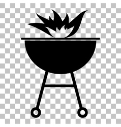Barbecue with fire sign Flat style black icon on vector