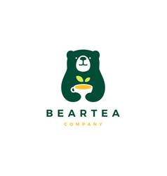 bear tea cup logo icon vector image