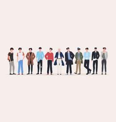 Beautiful men group standing together attractive vector