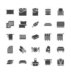 Bedding flat glyph icons orthopedics mattresses vector
