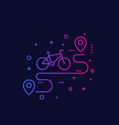 Bicycle and route line icon vector