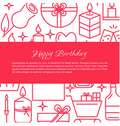 birthday celebration concept banner in line style vector image