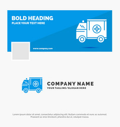 Blue business logo template for ambulance truck vector