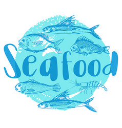 blue seafood background vector image vector image