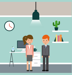 businesswoman and businessman briefcase vector image