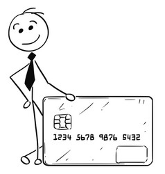 cartoon of business man with credit debit card vector image