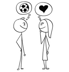 cartoon of man and woman talking about football vector image