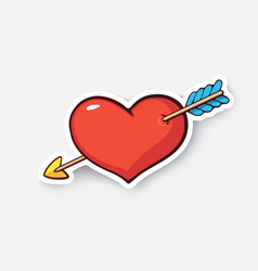Cartoon sticker heart with arrow vector