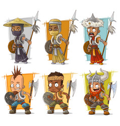 cartoon warriors with spear character set vector image